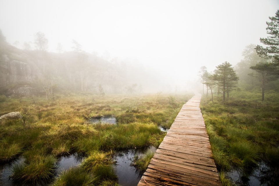 Walking on foot through Norwegian fjords