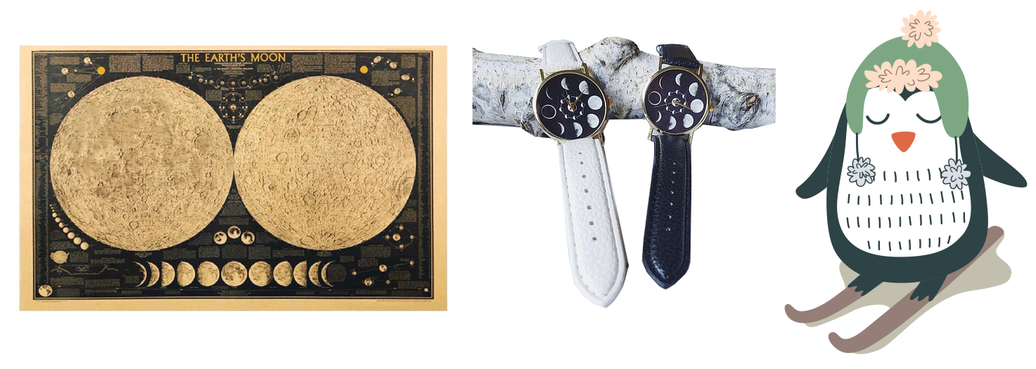 Moon Phase Watches and Moon Phase Poster from The Freckled Moon