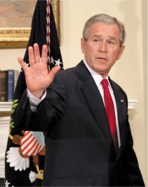 George w. Bush waves goodbye