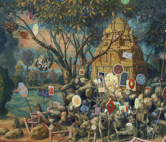 {Millenium Burial Mound | 2012 Oil on canvas | 68x 80 inches}