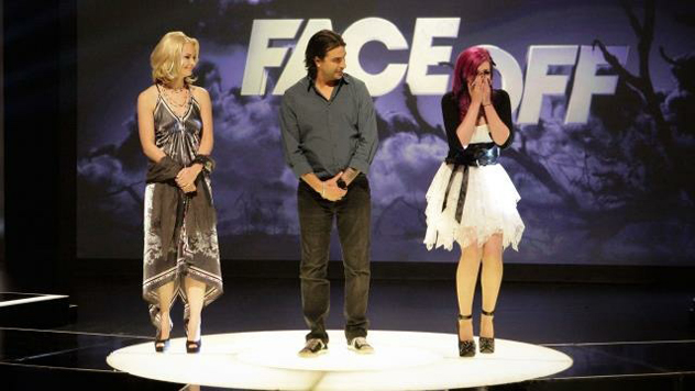 Nicole Chilelli (far right) after they announced her the winner of Face Off Season 3