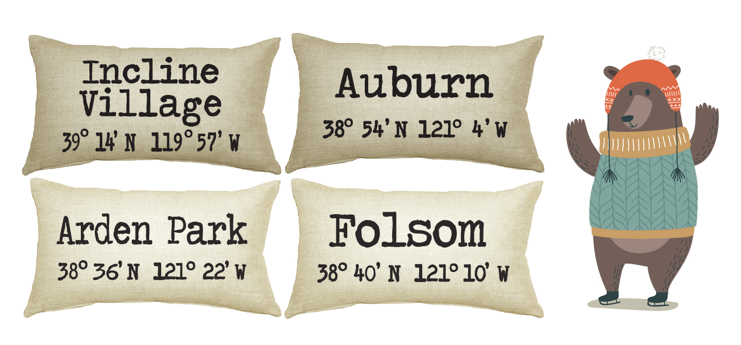 Neighborhood Pillows with Latitude and Longitude at Mono Mia